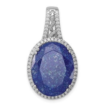 Sterling Silver Rhodium-plated CZ and Cracked Blue CZ Pendant