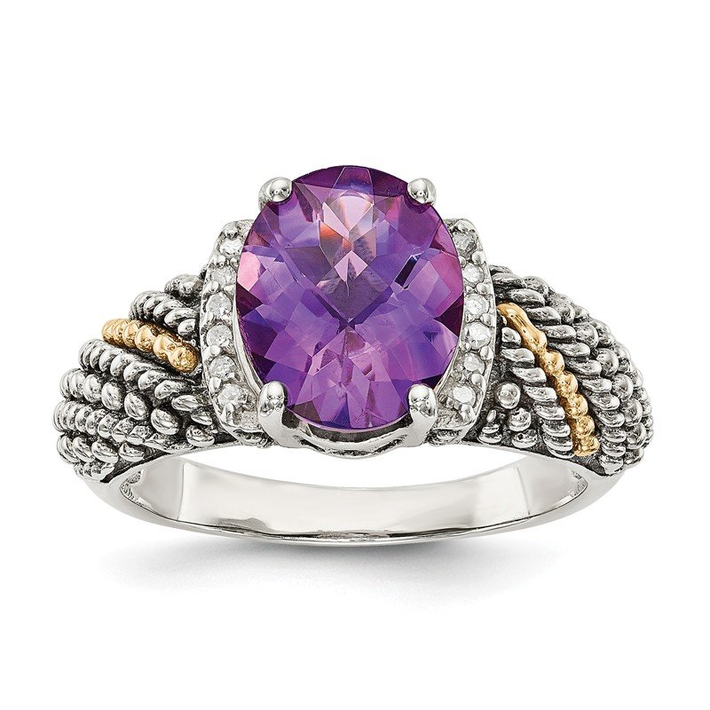 Shey Couture Sterling Silver w/14k Amethyst & Diamond Ring