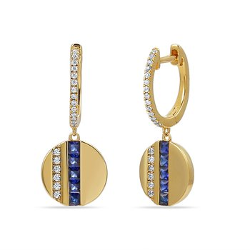 14K DISK DESIGN DROP EARRINGS 40 DIAMONDS 0.18CT & 10 SAPPHIRES 0.56CT