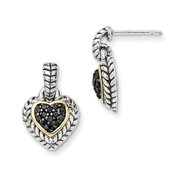 Sterling Silver w/14k Black Diamond Heart Earrings