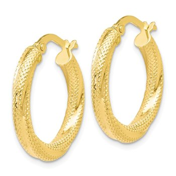 Leslie's 10K Textured Hinged Hoop Earrings