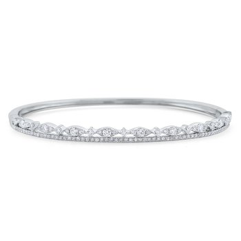 Diamond Double Line Miracle Marquise Bangle Set in 14 Kt. Gold