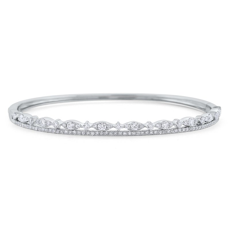 KC Designs Diamond Double Line Miracle Marquise Bangle Set in 14 Kt. Gold