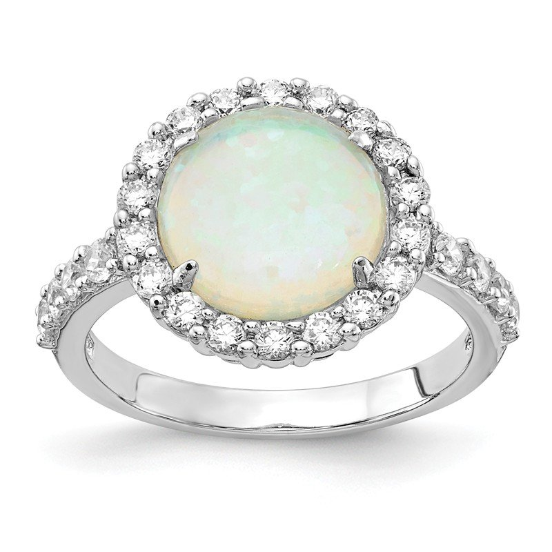 Cheryl M Cheryl M Sterling Silver Rhodium-plated Lab Created Opal & CZ Ring