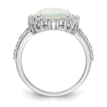 Cheryl M Sterling Silver Rhodium-plated Lab Created Opal & CZ Ring
