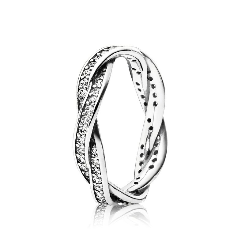 Pandora Twist Of Fate Stackable Ring, Clear Cz