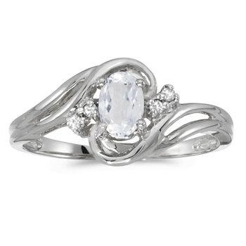 14k White Gold Oval White Topaz And Diamond Ring