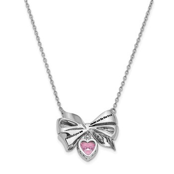 Sterling Silver Antiqued Pink CZ Tie The Knot 18in. Necklace
