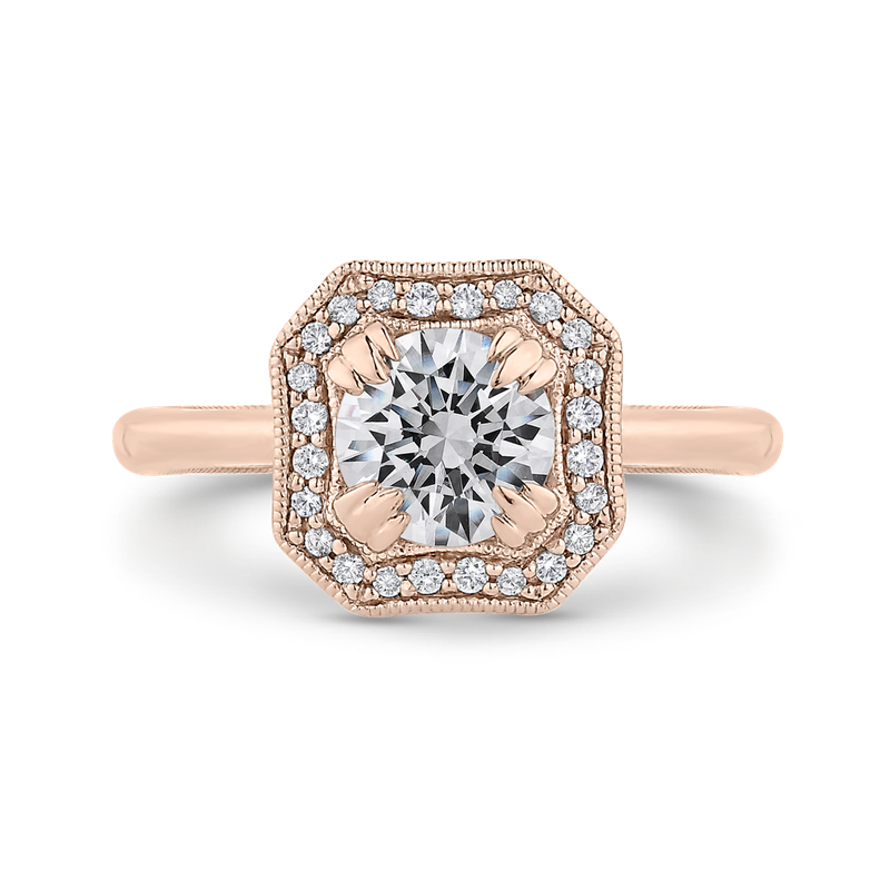 Carizza 14K Rose Gold Round Diamond Halo Engagement Ring with Euro Shank (Semi-Mount)