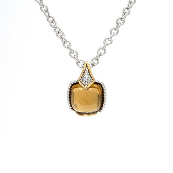 18kt and Sterling Silver Cognac Quartz & Diamond Pendant with Chain