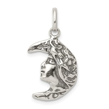 Sterling Silver Antiqued Moon Charm