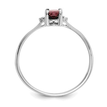 14k White Gold Diamond & Garnet Birthstone Ring