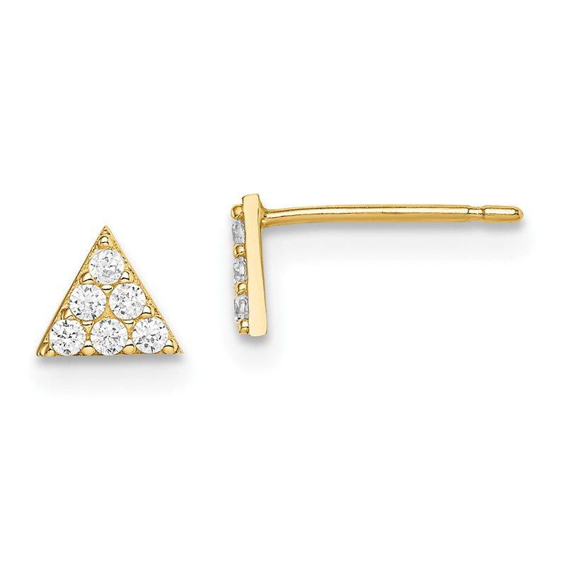 J.F. Kruse Signature Collection 14k Madi K Yellow Gold Triangle CZ Post Earrings