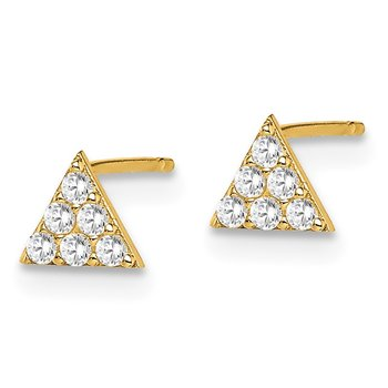 14k Madi K Yellow Gold Triangle CZ Post Earrings