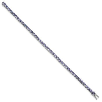 Sterling Silver Rhodium-plated Oval Tanzanite 7.5in Bracelet