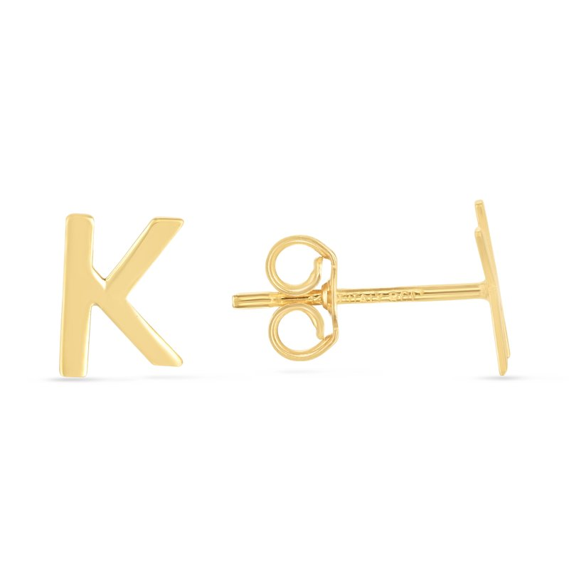 Royal Chain 14K Gold Initial K Stud Earring
