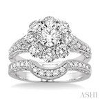 ASHI flower shape diamond wedding set