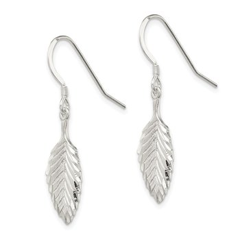 Sterling Silver Diamond-cut Leaf Wire Earrings