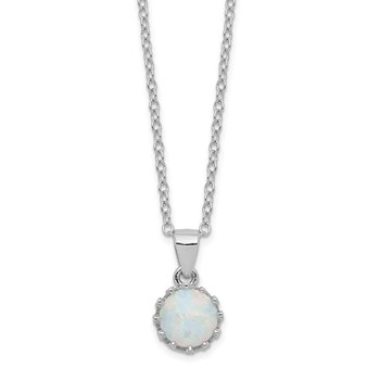 Sterling Silver Rhodium-plated Polished Created Opal Necklace