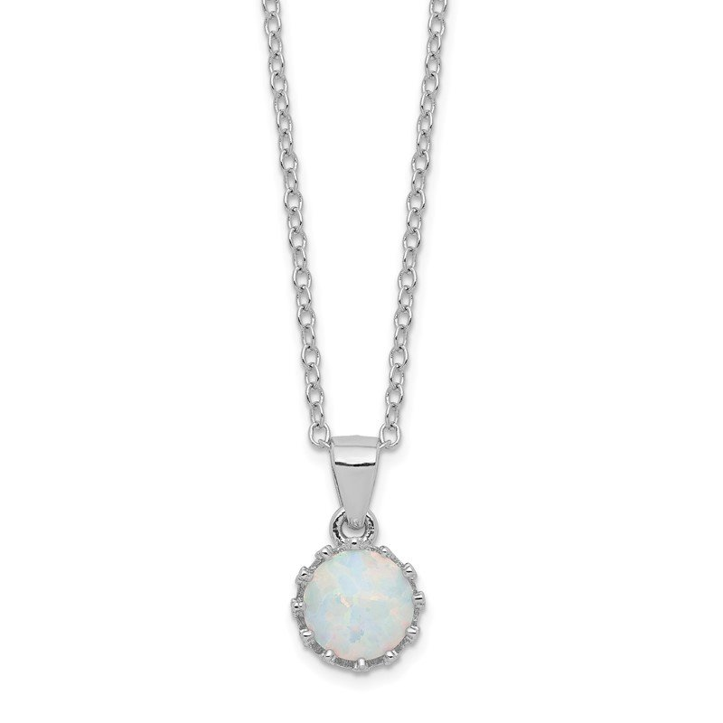 Quality Gold Sterling Silver Rhodium-plated Polished Created Opal Necklace