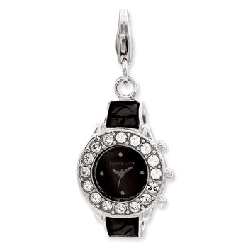 Sterling Silver Amore La Vita Rhodium-plated Enameled 3-D Watch Charm