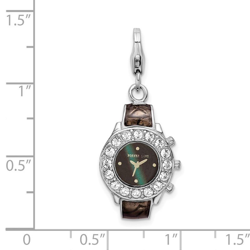 Quality Gold Sterling Silver Amore La Vita Rhodium-plated Enameled 3-D Watch Charm