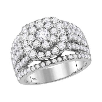 14kt White Gold Womens Round Diamond Cluster Bridal Wedding Engagement Ring 3.00 Cttw
