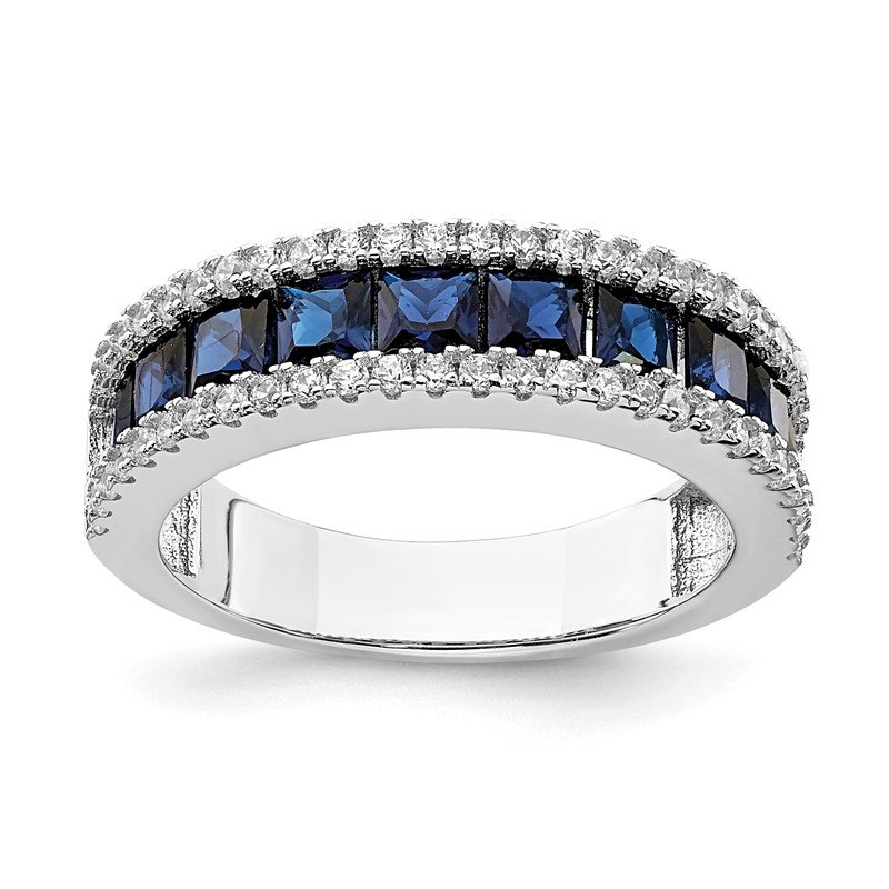Quality Gold Sterling Silver Rhodium-plated Synthetic Blue Spinel & CZ Ring
