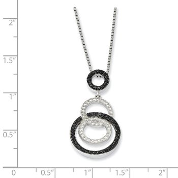 Sterling Silver Brilliant Embers Rhodium-plated CZ Circle Necklace