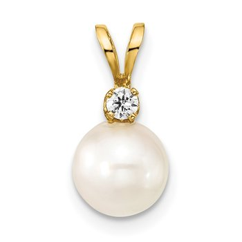 14k 7-8mm Round White Saltwater Akoya Cultured Pearl Diamond Pendant
