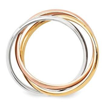 14k Tri-color Polished Rolling Ring
