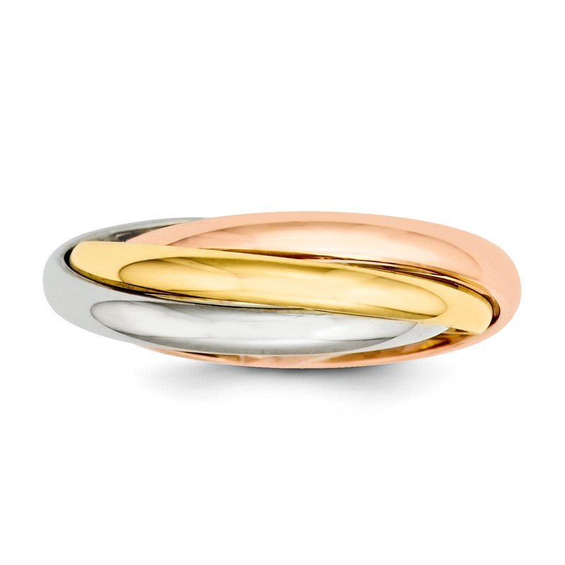 Quality Gold 14k Tri-color Polished Rolling Ring