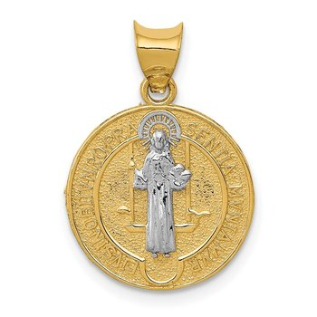 14k With Rhodium Circle St. Benedict Medal Pendant