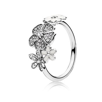 Shimmering Bouquet, White Enamel Clear Cz