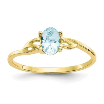 10k Polished Geniune Aquamarine Birthstone Ring