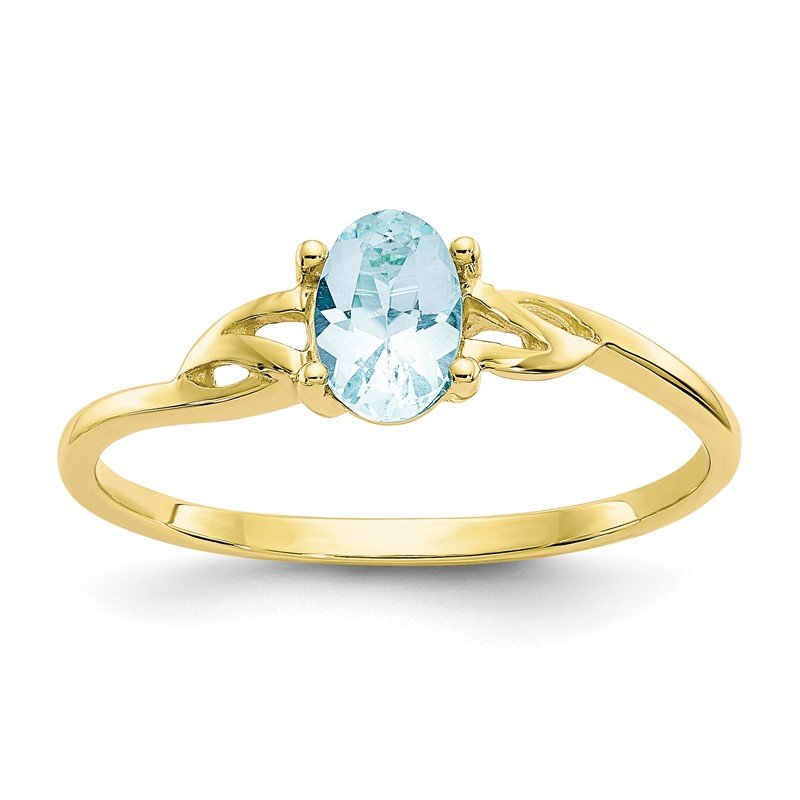 JC Sipe Essentials 10k Polished Geniune Aquamarine Birthstone Ring