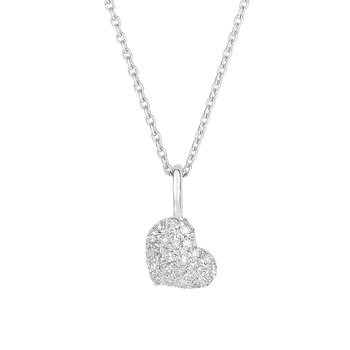 14K Gold .10ct Diamond Pave Heart Necklace