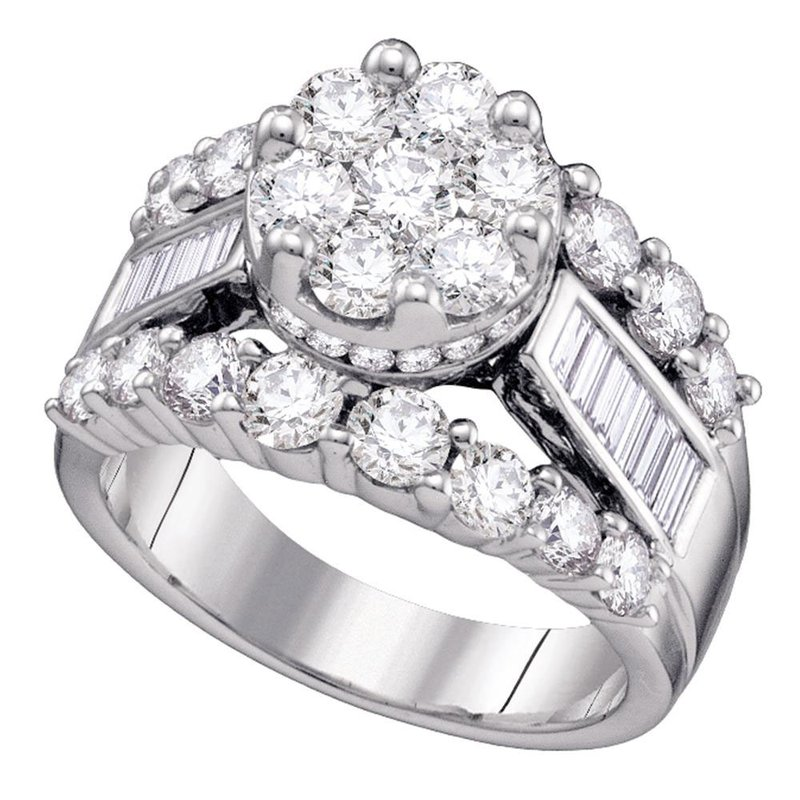 Gold-N-Diamonds, Inc. (Atlanta) 14kt White Gold Womens Round Diamond Cluster Bridal Wedding Engagement Ring 1.00 Cttw