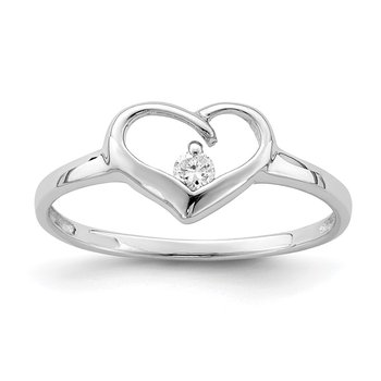 Sterling Silver Rhodium Plated CZ Heart Ring