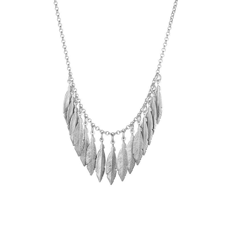 Royal Chain Silver Dangle Leaf Necklace