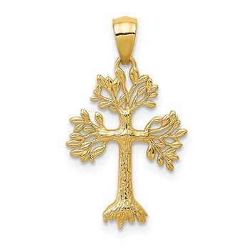 14k Polished Tree Cross Pendant