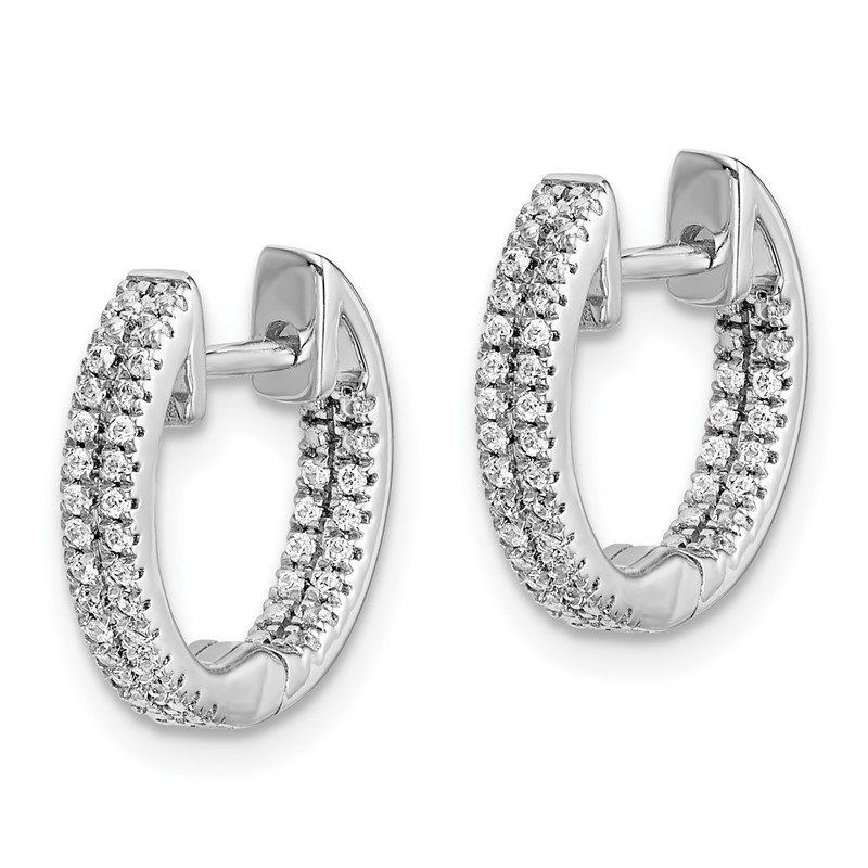 Lester Martin Online Collection 14k White Gold In/Out Diamond Hinged Hoop Earrings
