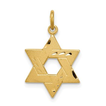 Sterling Silver Gold-tone Engraved Jewish Star Pendant
