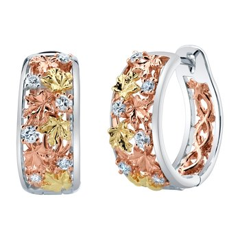 Maple Leaf Diamonds™ Autumn Falling Leaves Hoop Earrings