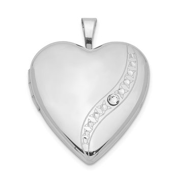 Sterling Silver Rhodium-plated Crystal Heart Locket