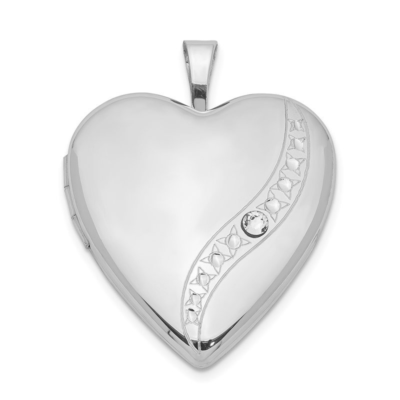 Quality Gold Sterling Silver Rhodium-plated Crystal Heart Locket