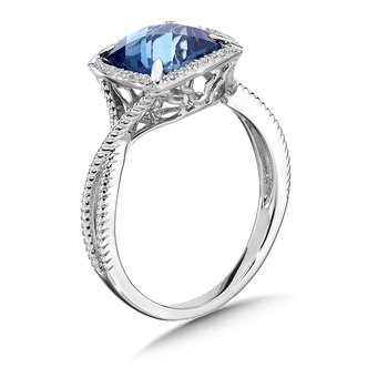 London Blue Topaz and Diamond Ring in 14K White Gold