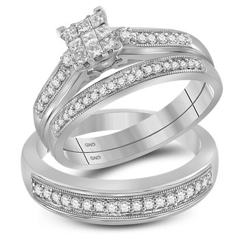 10kt White Gold His & Hers Princess Diamond Cluster Matching Bridal Wedding Ring Band Set 1/2 Cttw