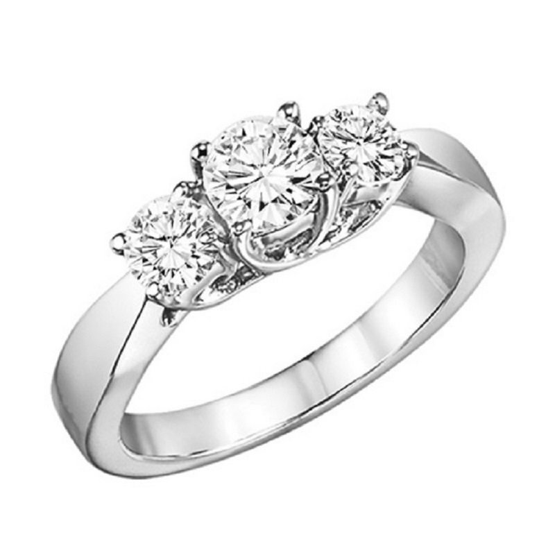 Gemsone 14K Diamond 3 Stone Ring 2 ctw