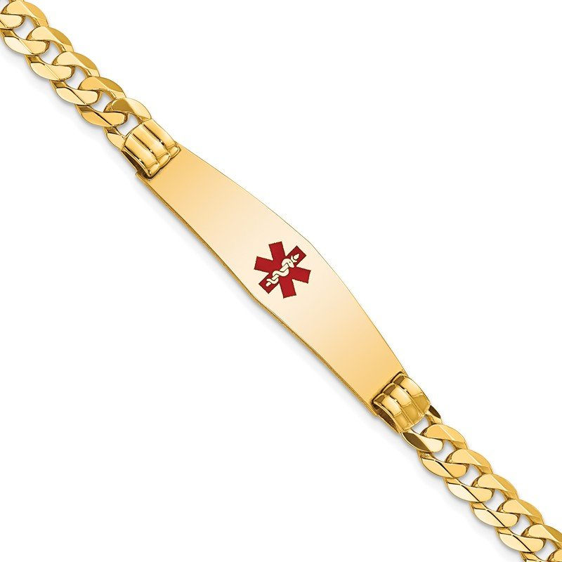 JC Sipe Essentials 14K Medical Soft Diamond Shape Red Enamel Curb Link ID Bracelet